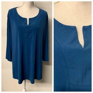 Susan Graver Teal Blue Y-Neckline Liquid Knit Top